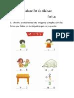 Evaluación de silabas M P T L