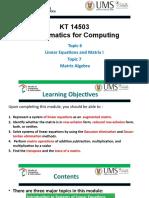 Topic 6 Linear Equations and Matrix Algebra