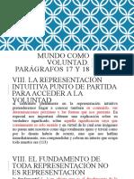 Parágrafos 17 y 18. Mundo como voluntad SCR