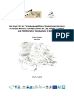 GAP ANALYSES ON THE ALBANIAN LEGISLATION AND ON PUBLICLY AVAILABLE INFORMATION REGARDING THE USE, IMPORT, STORAGE, AND TREATMENT OF AGRICULTURE CHEMICALS