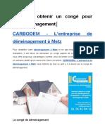 Comment obtenir un congé pour son déménagement│ CARBODEM - L'entreprise de déménagement à Metz