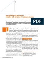 Les Filtres Plantes de Roseaux - Evolution de La Recherche Et Tendances Actuelles