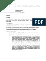 RECONOCIMIENTO DE SALES MINERALES Y DETERMINACIÓN DEL pH y ACIDEZ en ALIMENTOS y del pK en ÁCIDOS