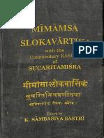 Mīmāṃsā Ślokavārttika and Kāśika I, II - Sambasiva, K.