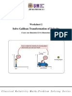 Worksheet 2 Solve Galilean Transformation of Velocity