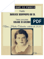 POR QUÉ TE FUISTE. Pasillo. Rosita Herrera de Rocha. Trasnc. piano Gerardo Betancourt.