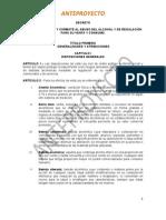 """Anteproyecto """"LEY DE PREVENCIÓN Y COMBATE AL ABUSO DEL ALCOHOL Y DE REGULACIÓN PARA SU VENTA Y CONSUMO"""""""