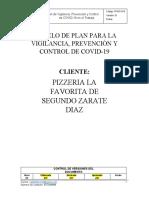 Modelo de PlanZARATE CAFEFAVORITA Prevención y Control de COVID 19 -MYO2020