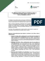Recomendaciones sobre salud mental para la  población de niños, niñas y adolescentes por la pandemia covid-19