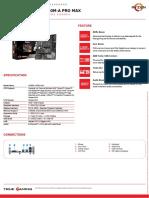 Msi a320m a Pro Max Datasheet