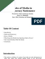 Roles of Media in Democracy Sustenance