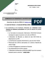 ADMISSION EN RESIDENCES UNIVERSITAIRES 2018-2019