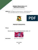 """""""EDUCACIÓN PARA LA PREVENCIÓN DEL COVID – 19"""""""