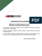 Ministerio de Salud dispuso el cese del director del hospital de Huaycán