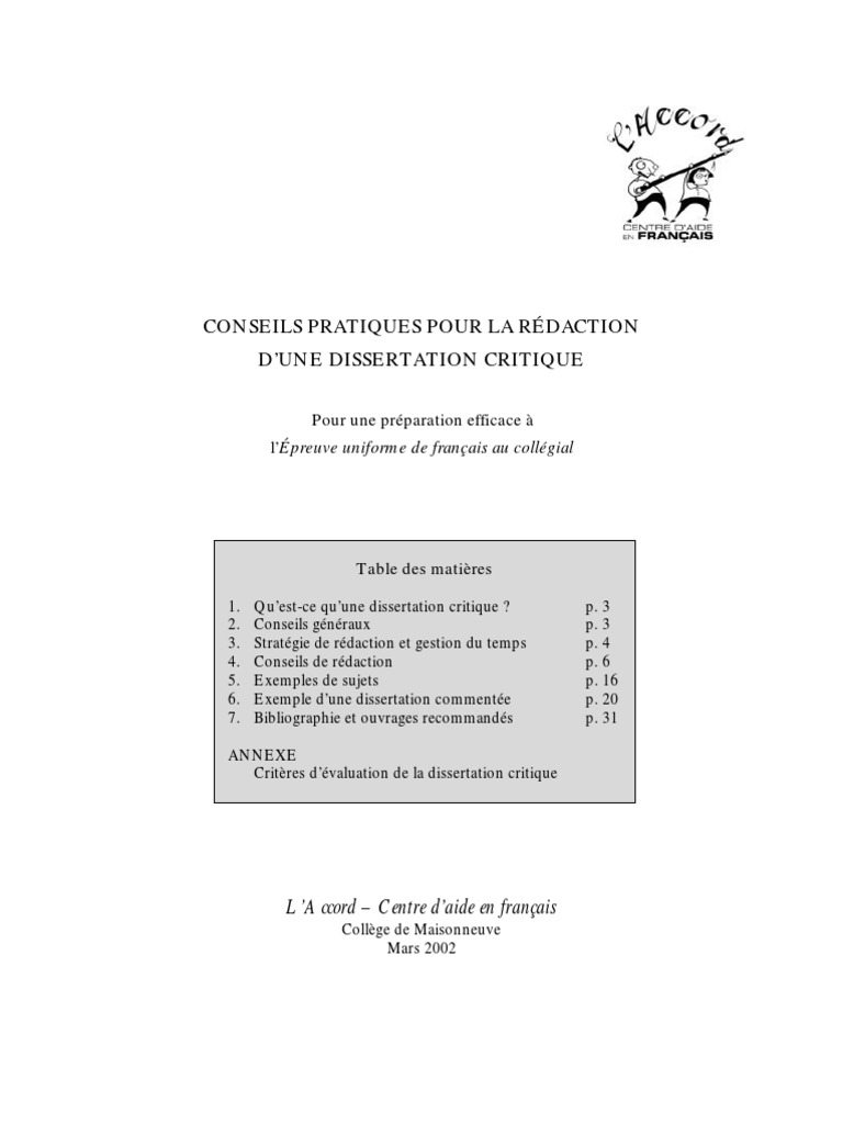 Dissertation critique exemple plan dialectique