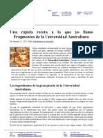 Una rápida receta a lo que yo llamo Fragmentos de la Universidad Australiana (SPANISH)