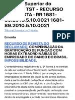 RECURSO DE REVISTA DO RECLAMADO. COMPENSAÇÃO DA GRATIFICAÇÃO DE FUNÇÃO
