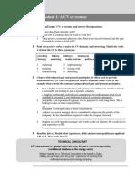 CV writing worksheet
