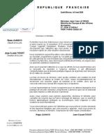 Notre courrier à Jean-Yves Le Drian