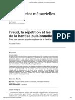 Freud, la répétition et les figures de la hantise pulsionnelle