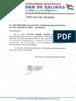 CERTIFICADO DE TRABAJO DE SAN JUAN DE SALINAS