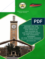 Report on the performance of the office of the Leader of the Majority Party in the National Assembly in the third session.