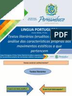Textos liter+írios (eruditos e populares) - an+ílise das caracter+¡sticas pr+¦prias dos movimentos est+®ticos a que pertencem.