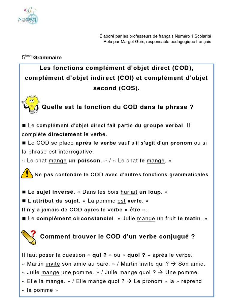 Les Fonctions Complement D Objet Direct Cod Complement D Objet Indirect Coi Et Complement D Objet Second Cos Complement D Objet Sujet Grammaire