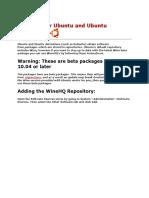 Wine for Ubuntu and Ubuntu Derivatives