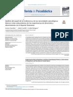 analisis del papel de ña resiliencia y de las necesidades psicologicas Gonzales 2018