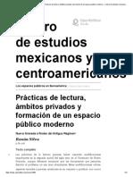 5 Prácticas de lectura, ámbitos privados y formación de un espacio público moderno