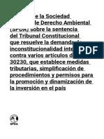 Análisis de la SPA sobre la sentencia del TC Sobre respecto a la Ley 30230