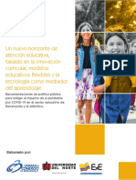 Recomendaciones de política pública para mitigar el impacto de la pandemia por COVID-19 en el sector educativo de Barranquilla y el Atlántico.