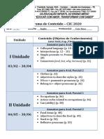 Cronograma CZC  2020 - Inglês - 7 Ano C