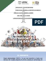 CLASIFICACION DE LOS DEPORTES Y TIPOS DE DEPORTES