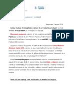 COMUNICAT DE PRESĂ VERNISAJE AUGUST 2018