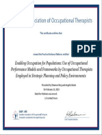 certificate - enabling occupation for populations- use of occupational performance models and frameworks by occupational therapists employed in strategic planning and policy environments