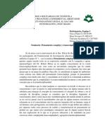 Sistematización seminario 4 pensamiento complejo y transcomplejo