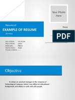 EXAMPLE OF RESUME IN PPT