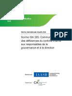 IAASB Prise Position Definitive ISA 265 2009