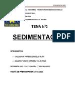 INFORME DE SEDIMENTACION