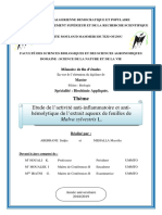 Etude de l'activité anti-inflammatoire et antihémolytique de l'extrait aqueux de feuilles de Malva sylvestris L.
