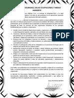1.1 POLITICA DE SEGURIDAD Y SALUD OCUPACIONAL