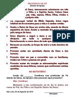 PROFISSÃO DE FÉ 2019