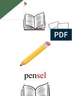 pensel, buku, kertas