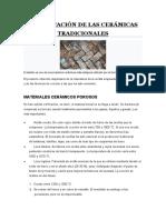 CLASIFICACIÓN DE LAS CERÁMICAS TRADICIONALES