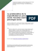 Zolkower, Martin, Ferrer, Carina Del (..) (2013). La problematica de la especificidad en psicologia social. Escuelas matrices de psicolog (..)
