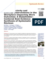 Physical Activity and Exercise Interventions in the Workplace Impacting Work Outcomes A Stakeholder-Centered Best Evidence Synthesis of Systematic Reviews