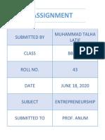 Assignment Entrepreneurship