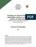Zamora, C. (2012) Psicólogos de Atención Primaria_ subjetividad, registros, acciones y políticas de salud mental.